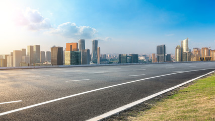 Empty asphalt road and city skyline in hangzhou,high angle view Fotomurales