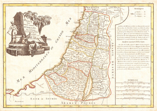 1770, Bonne Map of Israel showing the Twelve Tribes, Rigobert Bonne 1727 – 1794, one of the most important cartographers of the late 18th century