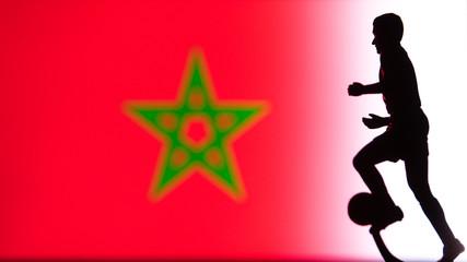 Morocco National Flag. Football, Soccer player Silhouette