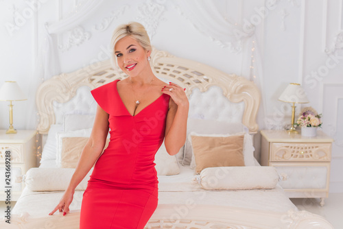 Lady in red classical fashionable midi dress, woman elegant