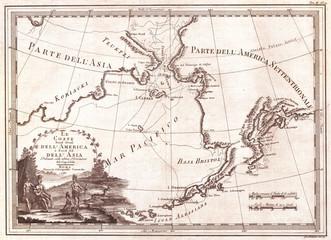 1798, Cassini Map of Alaska and the Bering Strait