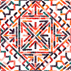 Fotobehang Boho Stijl Embroidered seamless geometric pattern. Ornament for the carpet. Ethnic and tribal motifs. Colorful print of handmade. Vector illustration.