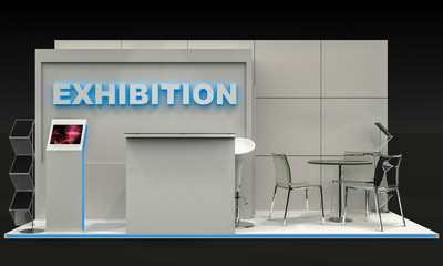 3D Illustration of Exhibition Stand