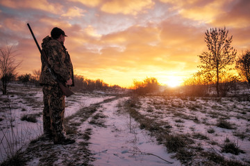 Acrylic Prints Hunting Winter hunting for hares at sunrise. Hunter moving With Shotgun and Looking For Prey.