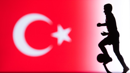 Turkey National Flag. Football, Soccer player Silhouette