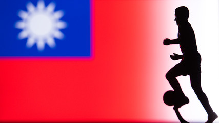 The Republic of China National Flag. Football, Soccer player Silhouette