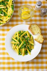 Penne with peas and pine nuts, from above