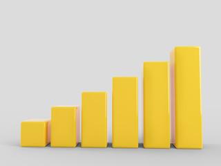 Yellow growing bar chart -