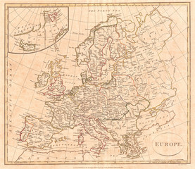 1799, Clement Cruttwell Map of Europe