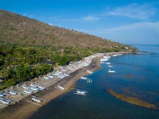 Indonesia, Bali, Amed, Aerial view of Lipah beach