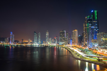 Panama, Panama City, skyline at night