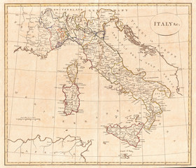 1799, Clement Cruttwell Map of Italy