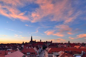 Skyline of Nuremberg at sunset, Bavaria, Middle Franconia, Germany