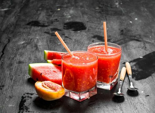 Fruit smoothie with watermelon.