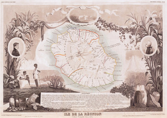 Fototapete - 1850, Levasseur Map of Ile de La Reunion