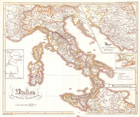 Fotomurales - 1850, Justus Perthes Map of Italy