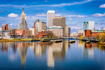 Wall Mural - Providence, Rhode Island, USA downtown skyline on the river.