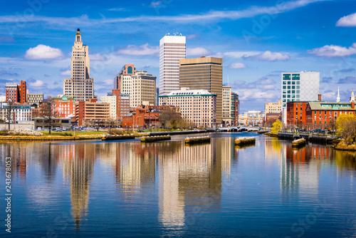 Wall mural Providence, Rhode Island, USA downtown skyline on the river.