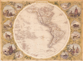 1850, Tallis Map of the Western Hemisphere