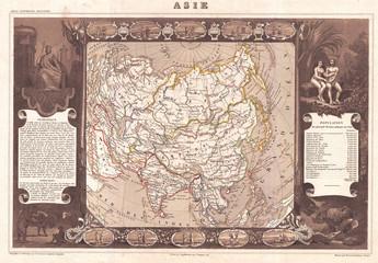 1852, Levasseur Map of Asia