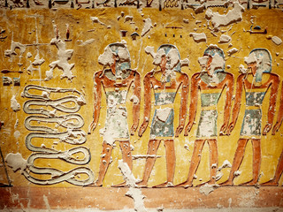 Hieroglyphics depicting the afterlife in the Valley of the Kings Luxor Thebes Egypt