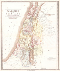 Fototapete - 1852, Philip Map of Palestine, Israel, Holy Land