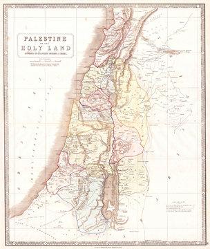 1852, Philip Map of Palestine, Israel, Holy Land