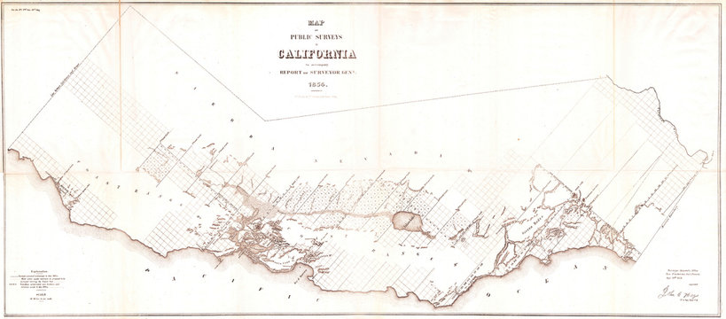 1854, Duval Public Survey Map of California