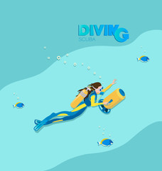 Girl scuba diver with underwater scooter and tropical fish. A poster with the inscription. Young woman in a diving suit and fins swimming underwater against the background of the sea wave.