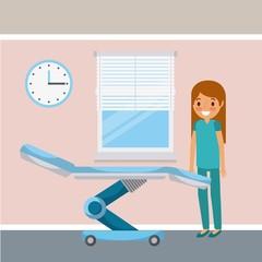nurse female staff room wheel bed clock and window