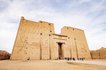 The front of Horus Temple Edfu (Idfu / Edfou) near Luxor in Egypt