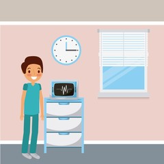 doctor medical ekg machine monitor clock and window