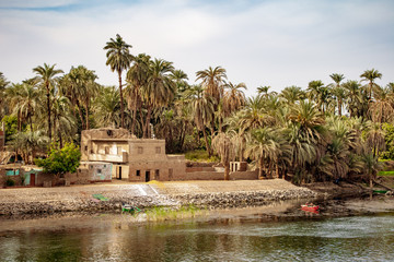 Traditional housing on the banks of Nile River in Luxor Egypt