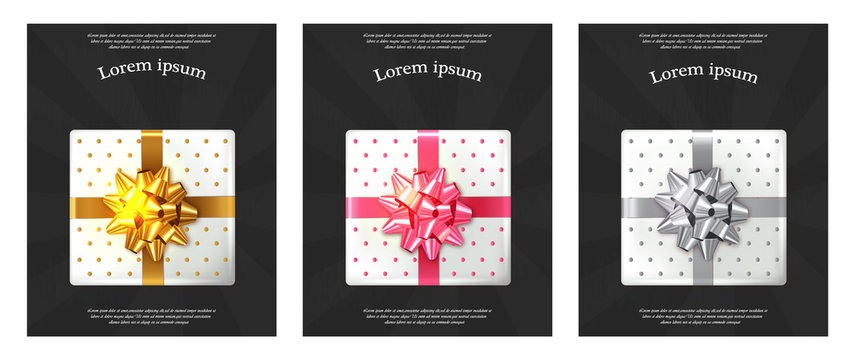 Gift boxes brochures Vector realistic. Dark background confeti sparkle. Product placement mock up. Design packaging 3d illustration. Birthday, Wedding, Anniversary decor template banners