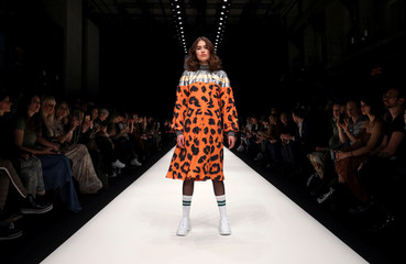 A model presents a creation by Rebekka Ruetz during the Berlin Fashion Week Autumn/Winter 2019/20 in Berlin