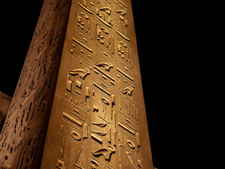Hieroglyphics details on the great Obelisk at Luxor Temple Egypt