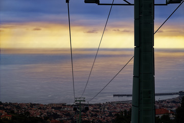 Cables of a funicular from Monte to Funchal at sunset. Madeira, Portugal