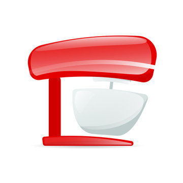 Red kitchen mixer icon. Clipart image isolated on white background
