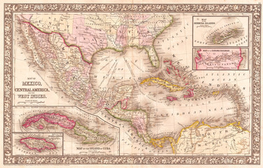 1866, Mitchell Map of Mexico and the West Indies