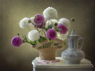 Still life with bouquet of dahlia flowers