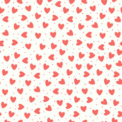 Seamless pattern with coral pink hand-drawn simple hearts on white background