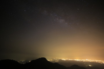 The magic galaxy or milky way on the night sky with mountain peek foreground