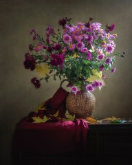Still life with bouquet of chrysanthemums