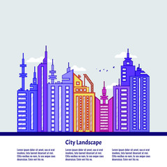 City landscape in flat style for decoration design. Graphic vector illustration. Modern poster with city landscape.