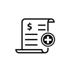 Medical bill outline icon. Clipart image isolated on white background