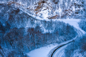 Aerial view of winter road