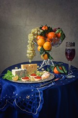 Still life with fruits and delicious