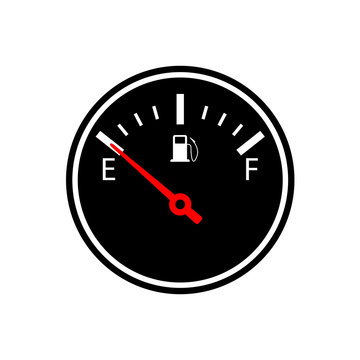 Empty fuel gauge silhouette icon. Clipart image isolated on white background