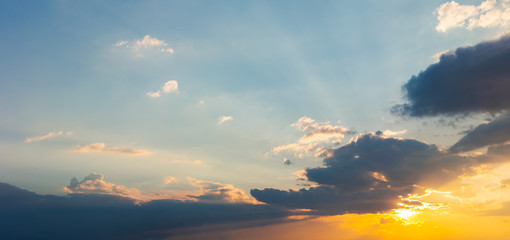 panorama of beautiful cloudscape at sunset. wonderful sky background