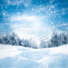 Winter landscape of forest and mountains and snow background with free space for your decoration